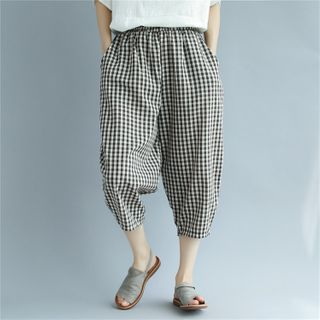 Image of Gingham Cropped Harem Pants