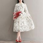 Floral Print Long-Sleeve A-Line Midi Chiffon Dress 1596