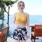 Set: Plain Tankini + Printed Swim Skirt 1596