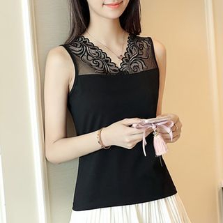 Lace Panel Sleeveless Top 1057900208