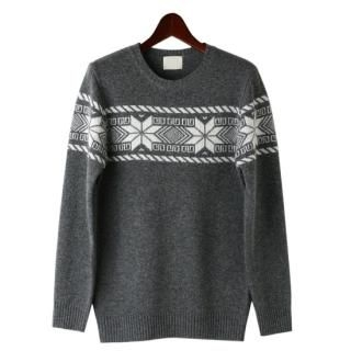 Round-Neck Patterned Knit Top-image
