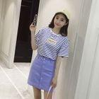 Set: Stripe Short-Sleeve T-Shirt + A-Line Skirt 1596