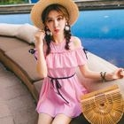 Open Shoulder Frilled 2-piece Swimdress 1596
