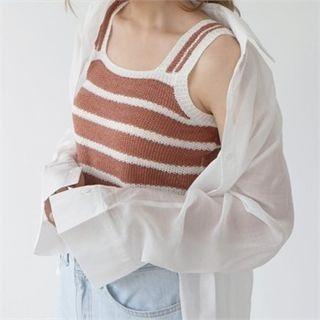 Sleeveless Striped Knit Top 1067742306