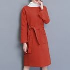 Pocketed Tie-Waist Long-Sleeve Knit Dress 1596