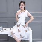 Short-Sleeve Applique Tulle Dress 1596