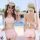 Set: Frill Trim Bikini Top + Swim Skirt 1596