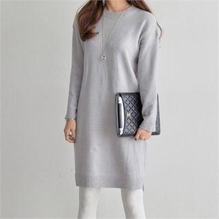 Round-Neck Knit Midi Dress 1064637451