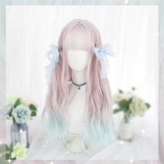Image of Long Full Wig - Wavy Gradient Gradient - Pink & Light Blue - One Size
