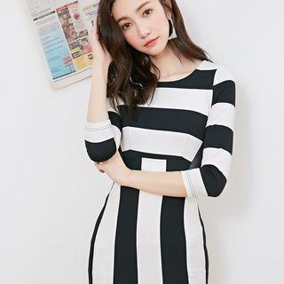 Image For Striped 3/4-Sleeve Sheath Minidress