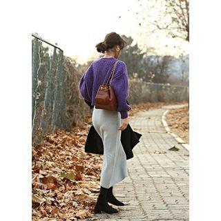 Band-Waist Long Knit Skirt 1063883806