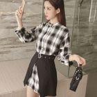 Set: Plaid Shirt Dress + Mini Skirt 1596
