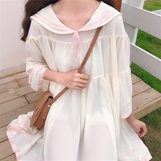 Image of 3/4-Sleeve Sailor Collar A-Line Dress Off-White - One Size