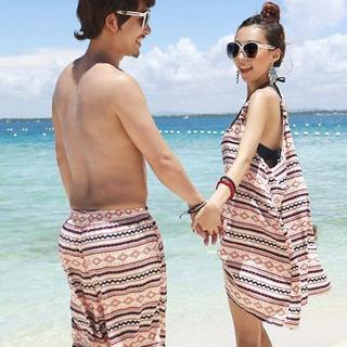 Couple Set: Pattern Bikini / Swim Shorts / Cover-Up