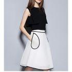 Set: Plain Tank Top + Tipped A-Line Skirt 1596