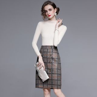 Button | Plaid | Skirt | Top