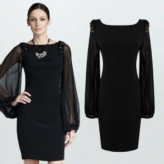 Long-Sleeved Tie-Waist Crewneck Chiffon Plain Sheath Dress 1058147559