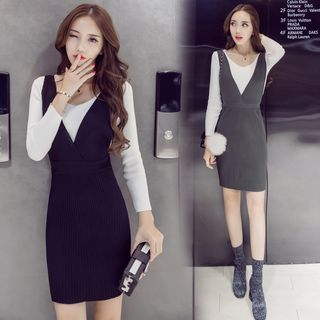 Set: Plain Sweater + Ribbed Pinafore Dress 1057700150