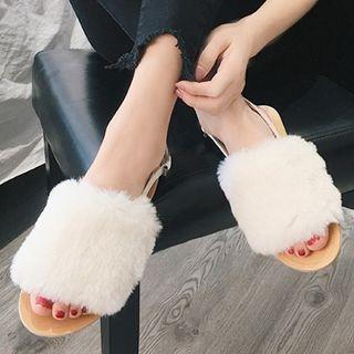 Furry Trim Slingback Sandals 1062097650