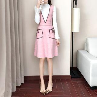 Set: Mock-Neck Long-Sleeve Knit Top + V-Neck Pocketed Pinafore Dress 1064741792