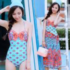 Set: Patterned Swimsuit + Cover Up 1596