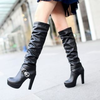 Faux Leather High Heel Tall Boots 1053576364