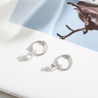 Rhinestone | Sterling | Earring | Figure | Silver | Hoop | Size | One