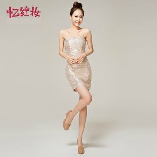 Strapless Rhinestone Sequined Party Dress 1049396849