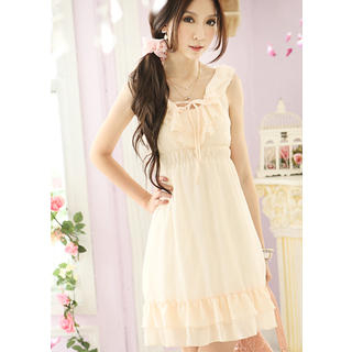 Buy Tokyo Fashion Sleeveless Ruffle Empire Chiffon Dress 1022968526