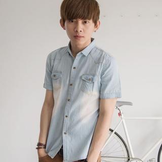 washed-short-sleeve-denim-shirt