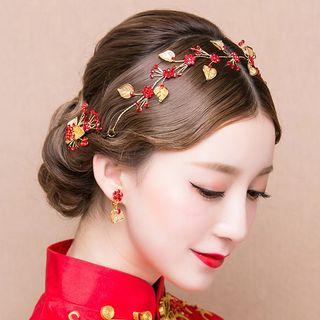 Image of Bridal Set: Leaf Drop Earrings + Headband + Hair Clip