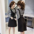Set: Striped Long-Sleeve T-Shirt + Pinafore Dress 1596