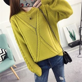 Ribbed Long-Sleeve Knit Sweater 1061929179