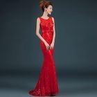 Sleeveless Sequined Lace Mermaid Evening Gown 1596