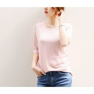 Elbow-Sleeve Ribbed T-Shirt 1058343642