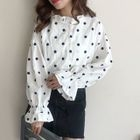 Dotted Frill Trim Blouse 1596
