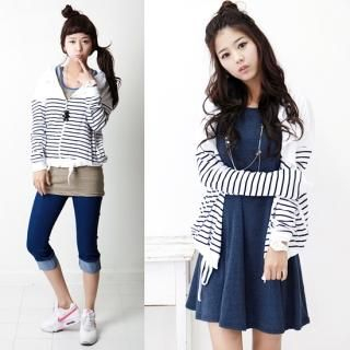 Buy Stylementor Drawstring-Waist Striped Hoodie 1022771996