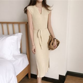 V-Neck Ribbed Knit Midi Dress 1060333752