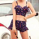 Set: Chili Print Cropped Tankini Top + Swimshorts 1596