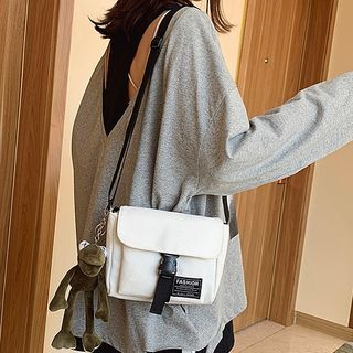 Image of Buckled Flap Crossbody Canvas Bag