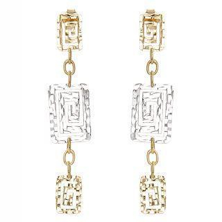 18K White & Yellow Gold Dangling Earrings - United states