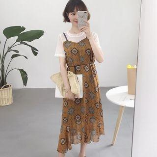 Set: Short-Sleeve T-Shirt + Strappy Patterned A-line Midi Dress 1060696273