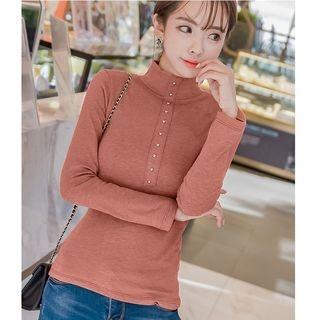 Long-Sleeve Mock-Neck T-Shirt 1062970371