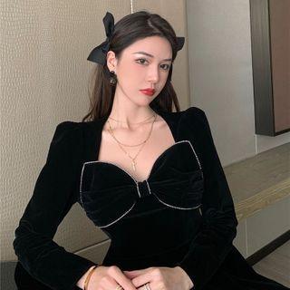 Velvet Long-sleeve Slim-fit Dress