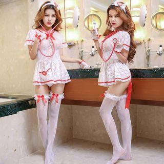 Image of Nurse Lingerie Costume Set Set of 4 - Hair Clip & Nurse Lingerie & Gloves & Stocking - One Size