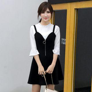 Set: Frill Trim Bell-Sleeve Top + A-Line Pinafore Dress 1057213259