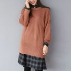 Round-Neck Ribbed Long Sweater 1596