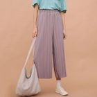 Accordion Pleat Cropped Wide-Leg Pants 1596
