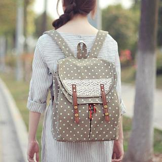 Crochet-Trim Polka Dot Flap Backpack