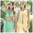 Set: Frill Trim Bikini + Beach Cover-Up 1596